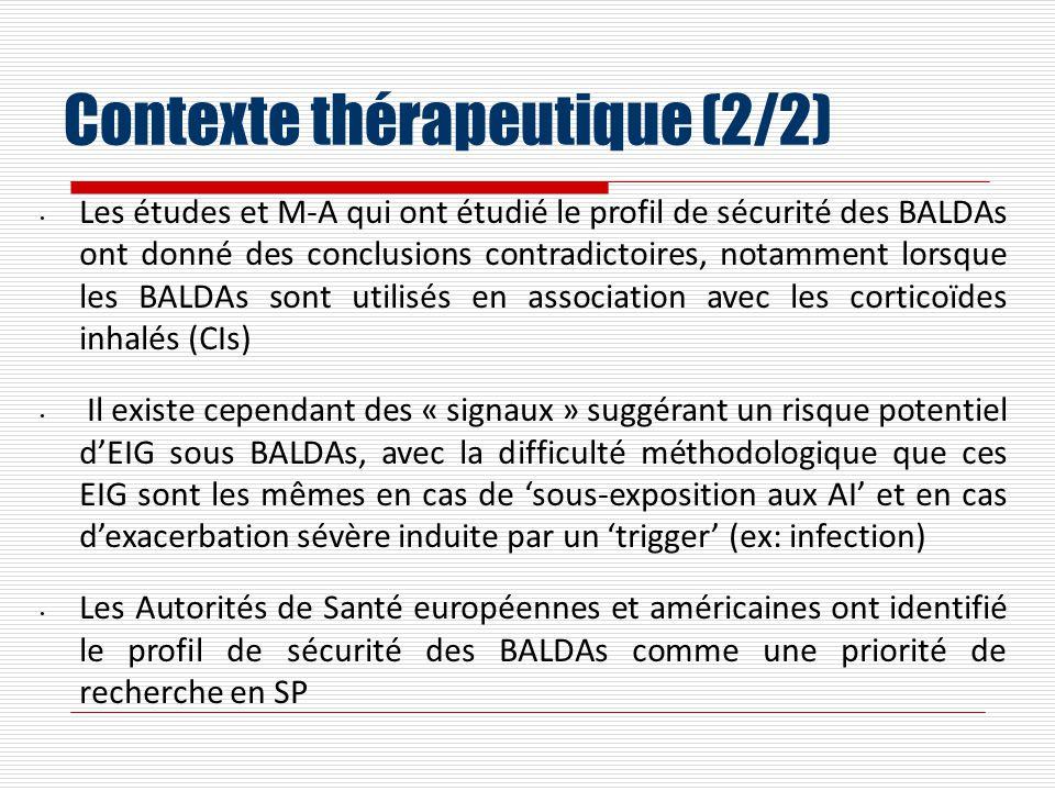Contexte thérapeutique (2/2) Les études et M-A qui ont étudié le profil de sécurité des BALDAs ont donné des conclusions contradictoires, notamment lo