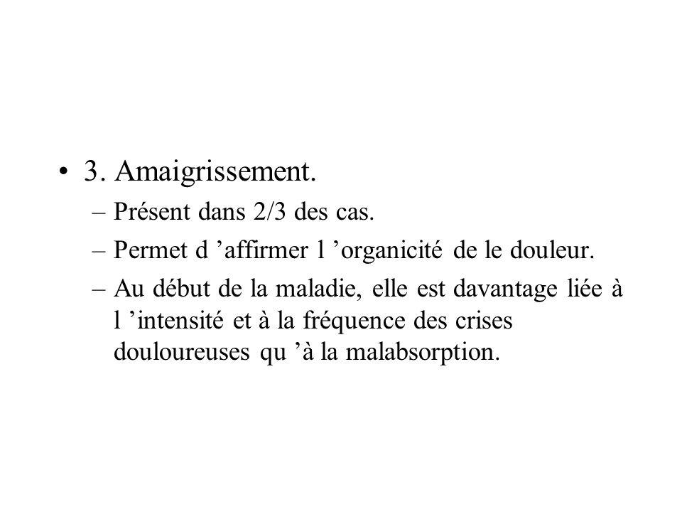 3. Amaigrissement. –Présent dans 2/3 des cas. –Permet d affirmer l organicité de le douleur. –Au début de la maladie, elle est davantage liée à l inte