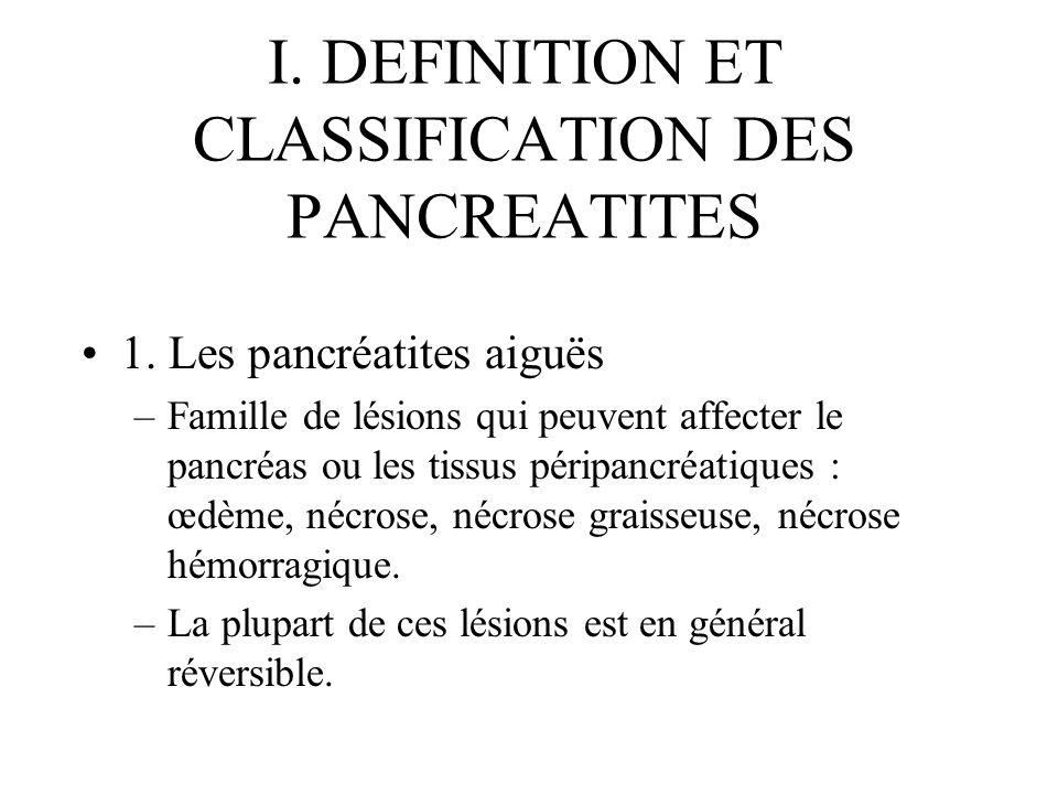 I. DEFINITION ET CLASSIFICATION DES PANCREATITES 1. Les pancréatites aiguës –Famille de lésions qui peuvent affecter le pancréas ou les tissus péripan