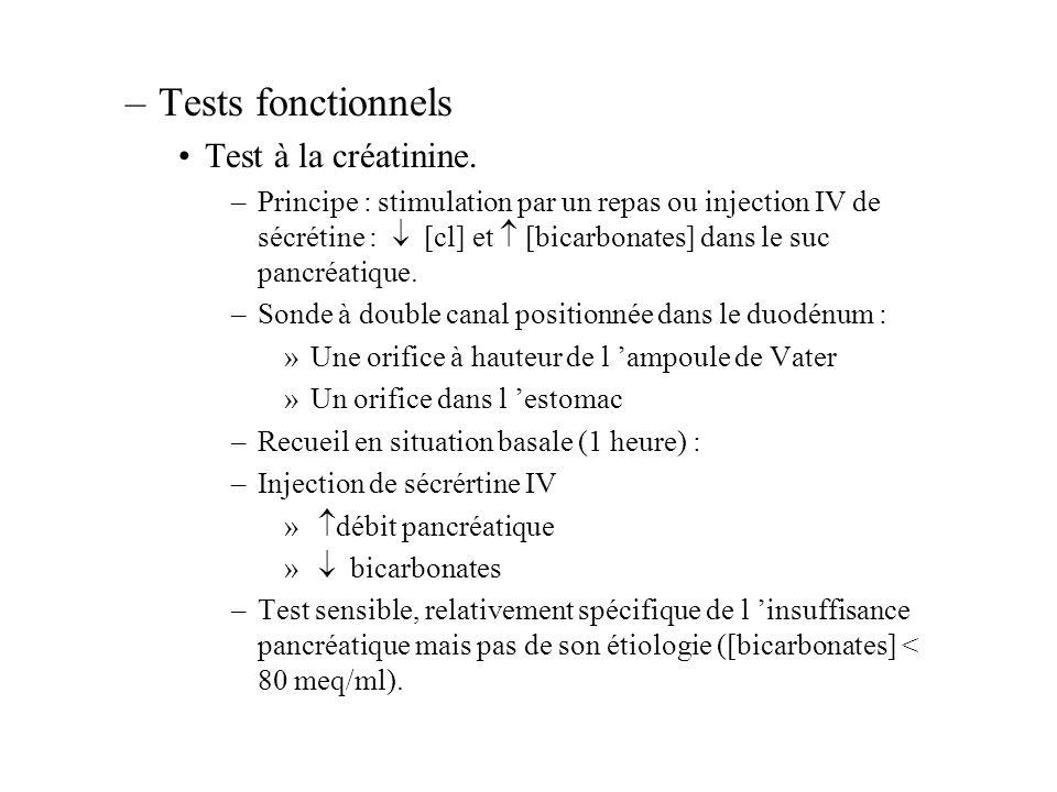 –Tests fonctionnels Test à la créatinine. –Principe : stimulation par un repas ou injection IV de sécrétine : [cl] et [bicarbonates] dans le suc pancr
