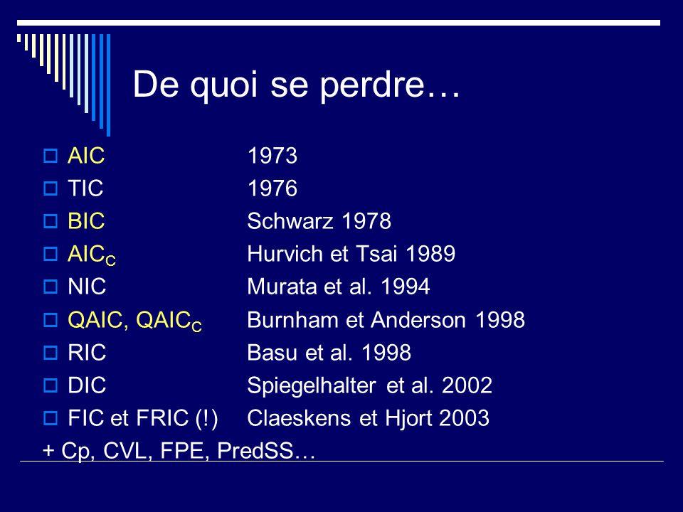 De quoi se perdre… AIC 1973 TIC1976 BICSchwarz 1978 AIC C Hurvich et Tsai 1989 NICMurata et al. 1994 QAIC, QAIC C Burnham et Anderson 1998 RICBasu et