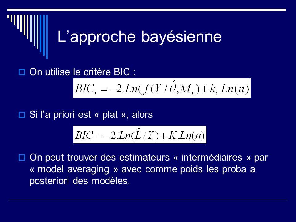 Lapproche bayésienne On utilise le critère BIC : Si la priori est « plat », alors On peut trouver des estimateurs « intermédiaires » par « model avera