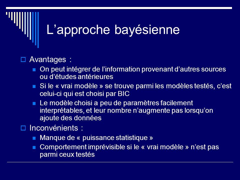 Lapproche bayésienne Avantages : On peut intégrer de linformation provenant dautres sources ou détudes antérieures Si le « vrai modèle » se trouve par