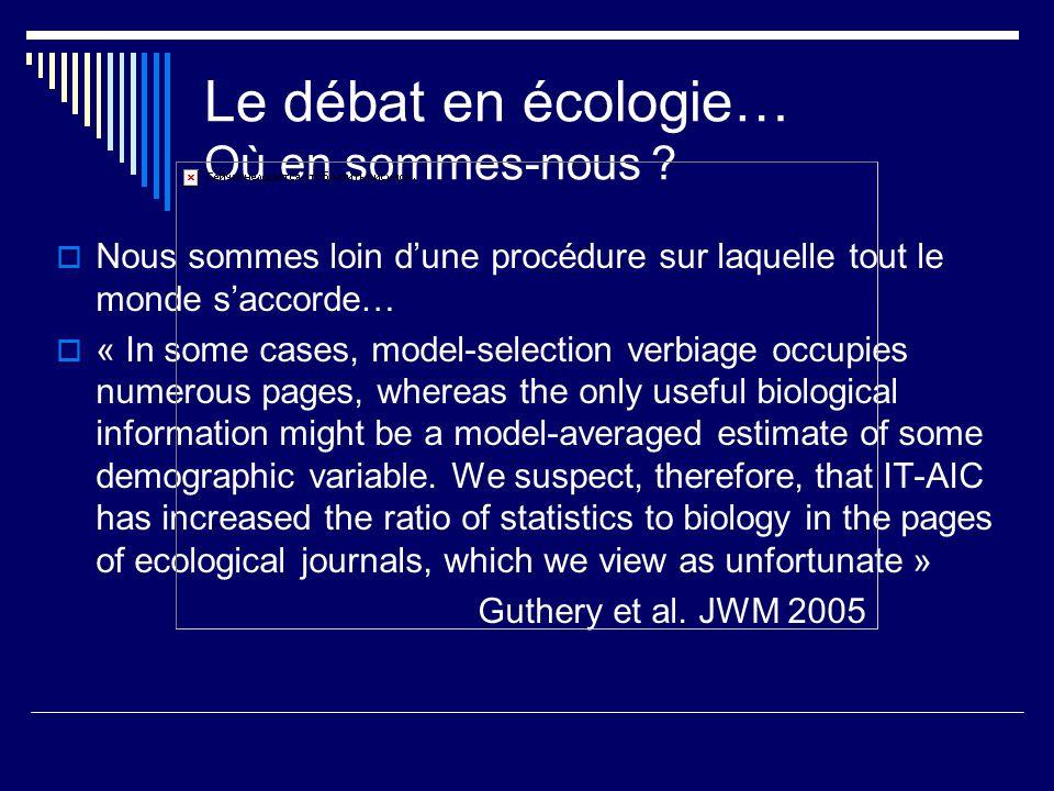Le débat en écologie… Où en sommes-nous ? Nous sommes loin dune procédure sur laquelle tout le monde saccorde… « In some cases, model-selection verbia