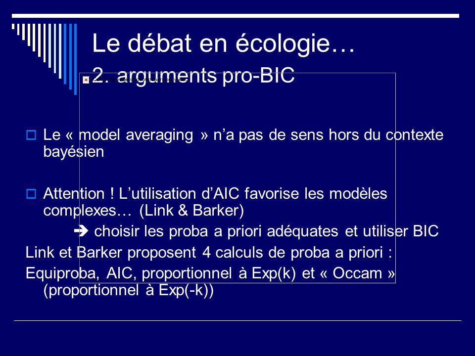 Le débat en écologie… 2. arguments pro-BIC Le « model averaging » na pas de sens hors du contexte bayésien Attention ! Lutilisation dAIC favorise les