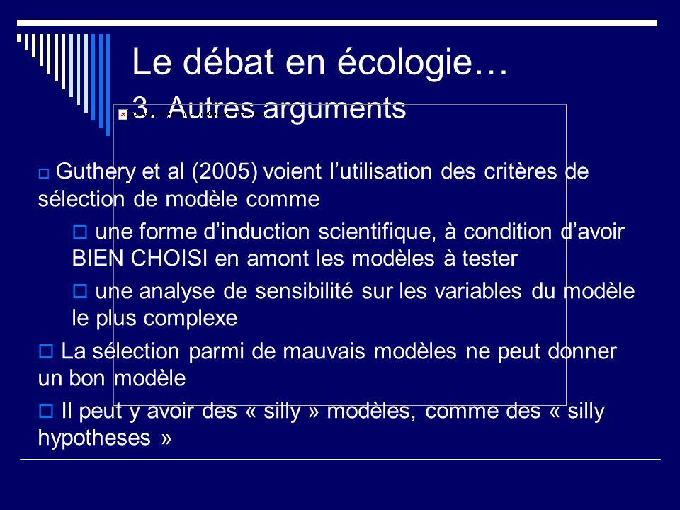 Le débat en écologie… 3. Autres arguments Guthery et al (2005) voient lutilisation des critères de sélection de modèle comme une forme dinduction scie