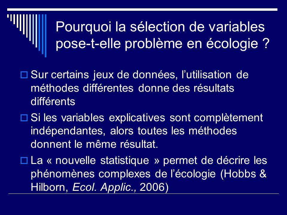 Pourquoi la sélection de variables pose-t-elle problème en écologie ? Sur certains jeux de données, lutilisation de méthodes différentes donne des rés