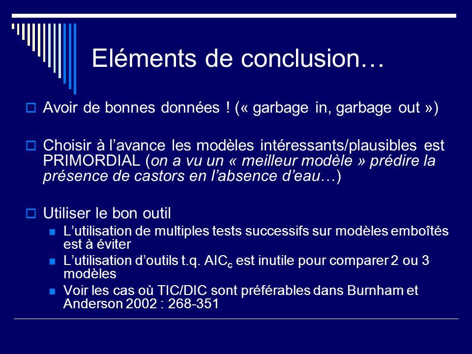 Eléments de conclusion… Avoir de bonnes données ! (« garbage in, garbage out ») Choisir à lavance les modèles intéressants/plausibles est PRIMORDIAL (