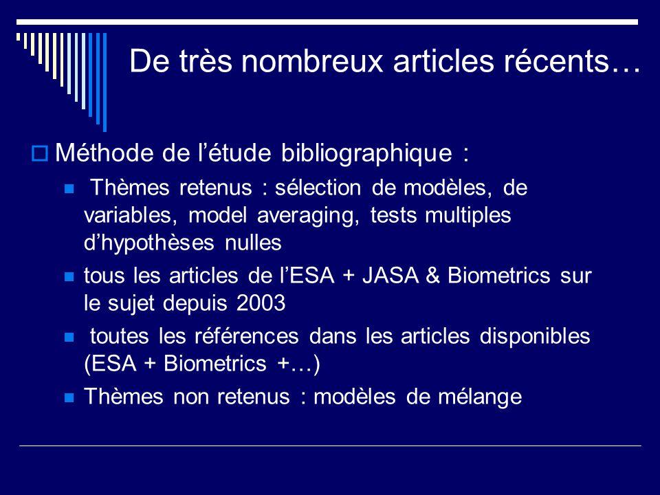 De très nombreux articles récents… Méthode de létude bibliographique : Thèmes retenus : sélection de modèles, de variables, model averaging, tests mul