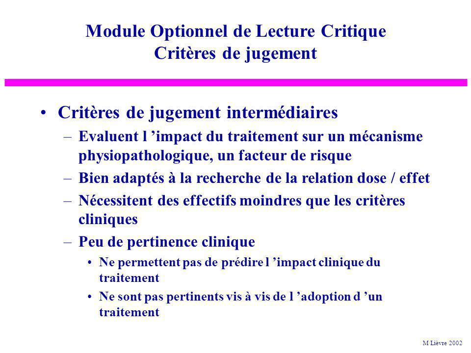 Critères de jugement intermédiaires –Evaluent l impact du traitement sur un mécanisme physiopathologique, un facteur de risque –Bien adaptés à la rech