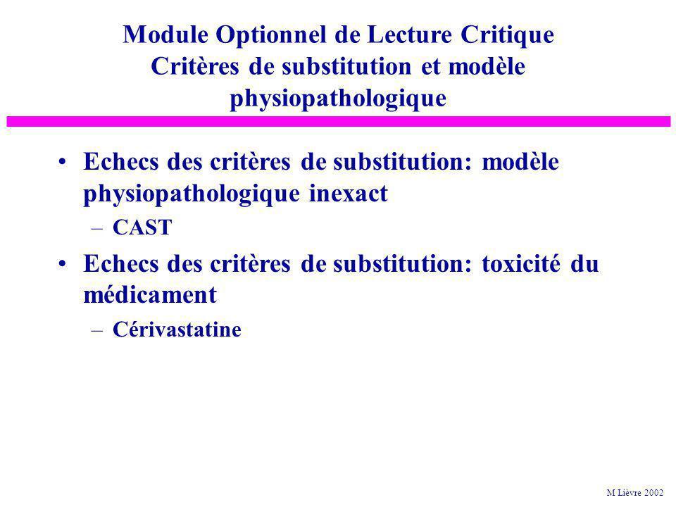 Echecs des critères de substitution: modèle physiopathologique inexact –CAST Echecs des critères de substitution: toxicité du médicament –Cérivastatin