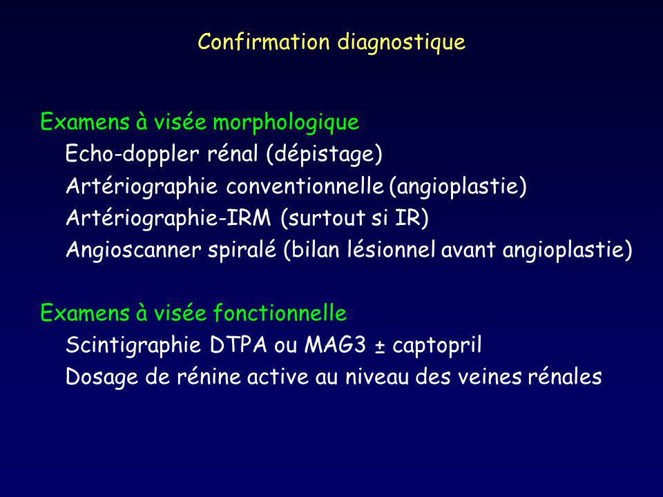Confirmation diagnostique Examens à visée morphologique Echo-doppler rénal (dépistage) Artériographie conventionnelle (angioplastie) Artériographie-IRM (surtout si IR) Angioscanner spiralé (bilan lésionnel avant angioplastie) Examens à visée fonctionnelle Scintigraphie DTPA ou MAG3 ± captopril Dosage de rénine active au niveau des veines rénales