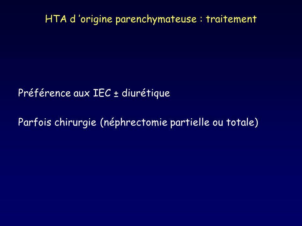 HTA d origine parenchymateuse : traitement Préférence aux IEC ± diurétique Parfois chirurgie (néphrectomie partielle ou totale)
