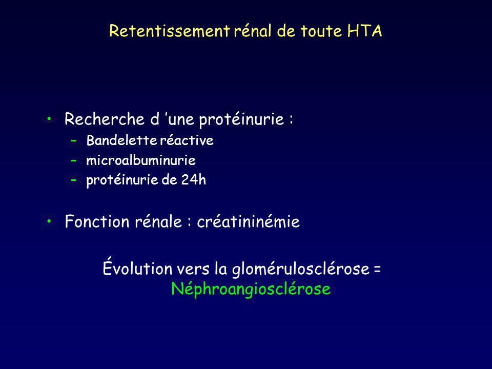 Retentissement rénal de toute HTA Recherche d une protéinurie : –Bandelette réactive –microalbuminurie –protéinurie de 24h Fonction rénale : créatininémie Évolution vers la glomérulosclérose = Néphroangiosclérose