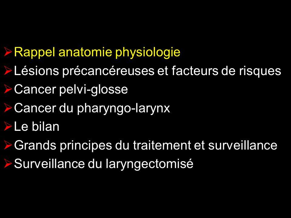 Rappel anatomie physiologie Lésions précancéreuses et facteurs de risques Cancer pelvi-glosse Cancer du pharyngo-larynx Le bilan Grands principes du traitement et surveillance Surveillance du laryngectomisé