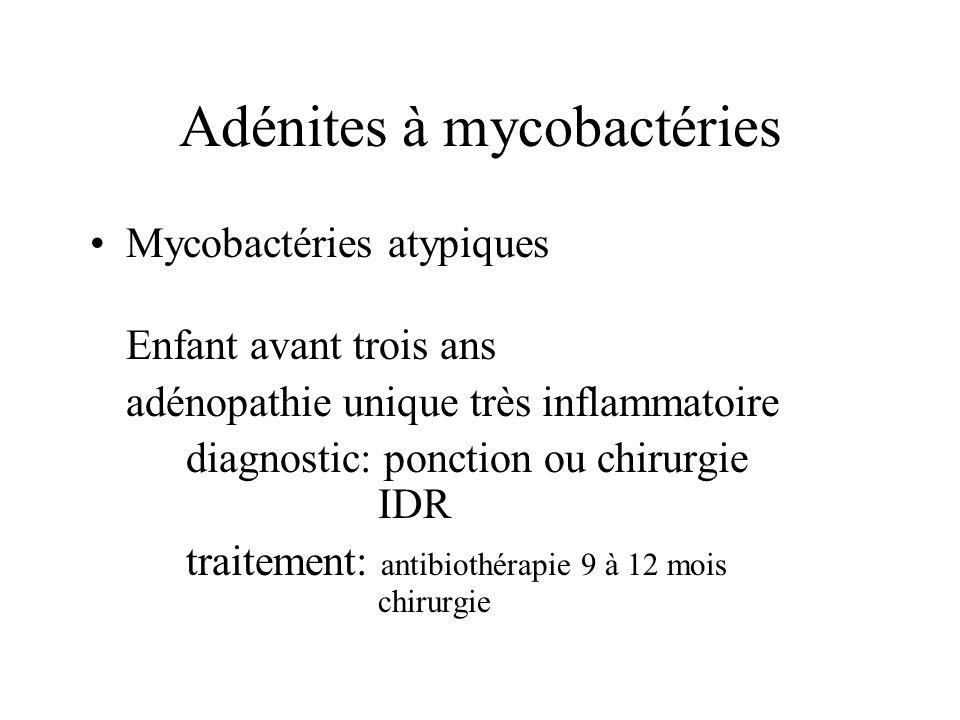 Adénites à mycobactéries Mycobactéries atypiques Enfant avant trois ans adénopathie unique très inflammatoire diagnostic: ponction ou chirurgie IDR tr