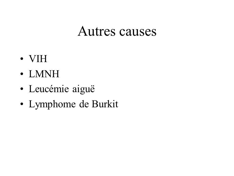 Autres causes VIH LMNH Leucémie aiguë Lymphome de Burkit