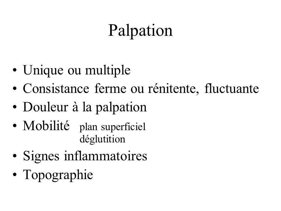 Palpation Unique ou multiple Consistance ferme ou rénitente, fluctuante Douleur à la palpation Mobilité plan superficiel déglutition Signes inflammato