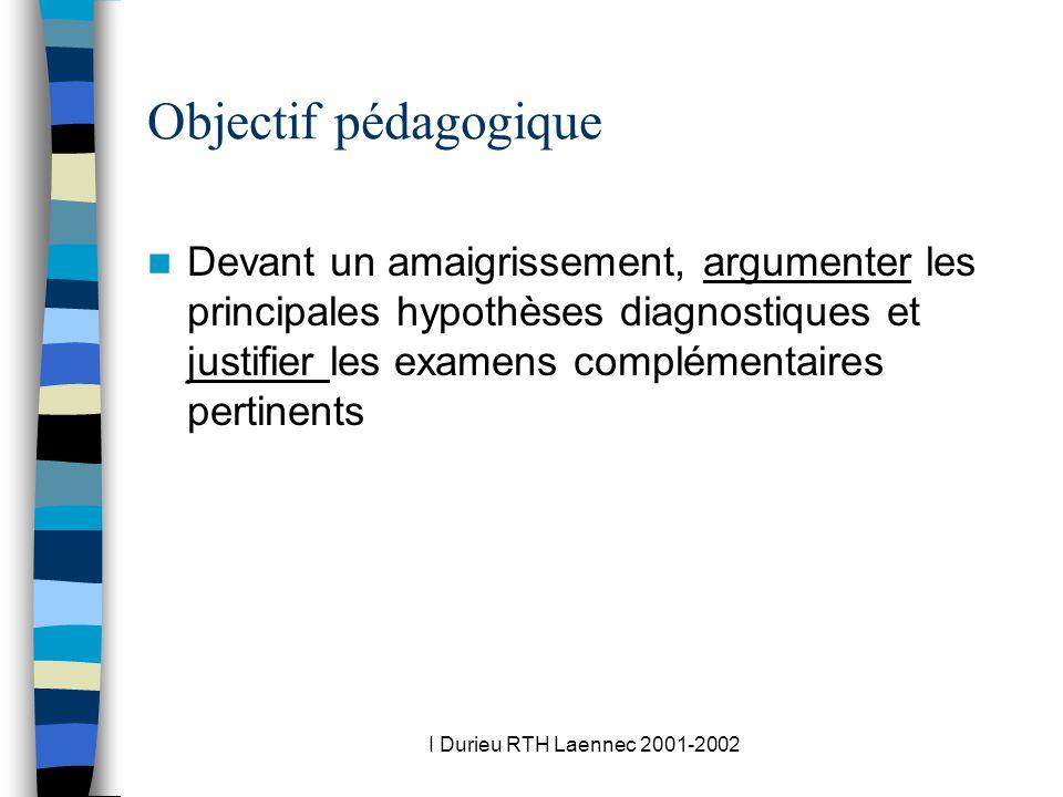 I Durieu RTH Laennec 2001-2002 Objectif pédagogique Devant un amaigrissement, argumenter les principales hypothèses diagnostiques et justifier les examens complémentaires pertinents