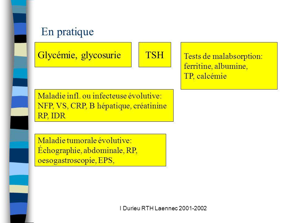 I Durieu RTH Laennec 2001-2002 En pratique Glycémie, glycosurieTSH Tests de malabsorption: ferritine, albumine, TP, calcémie Maladie infl.