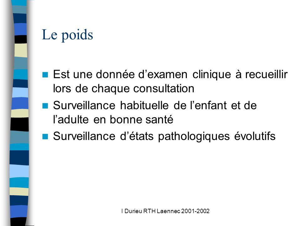 I Durieu RTH Laennec 2001-2002 Le poids Est une donnée dexamen clinique à recueillir lors de chaque consultation Surveillance habituelle de lenfant et de ladulte en bonne santé Surveillance détats pathologiques évolutifs