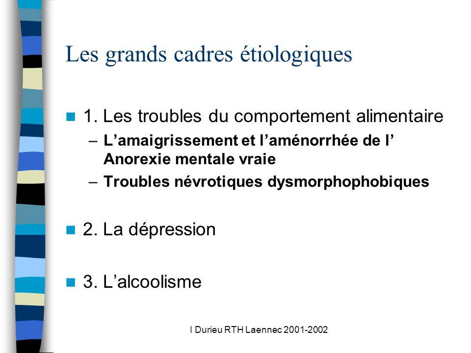 I Durieu RTH Laennec 2001-2002 Les grands cadres étiologiques 1. Les troubles du comportement alimentaire –Lamaigrissement et laménorrhée de l Anorexi