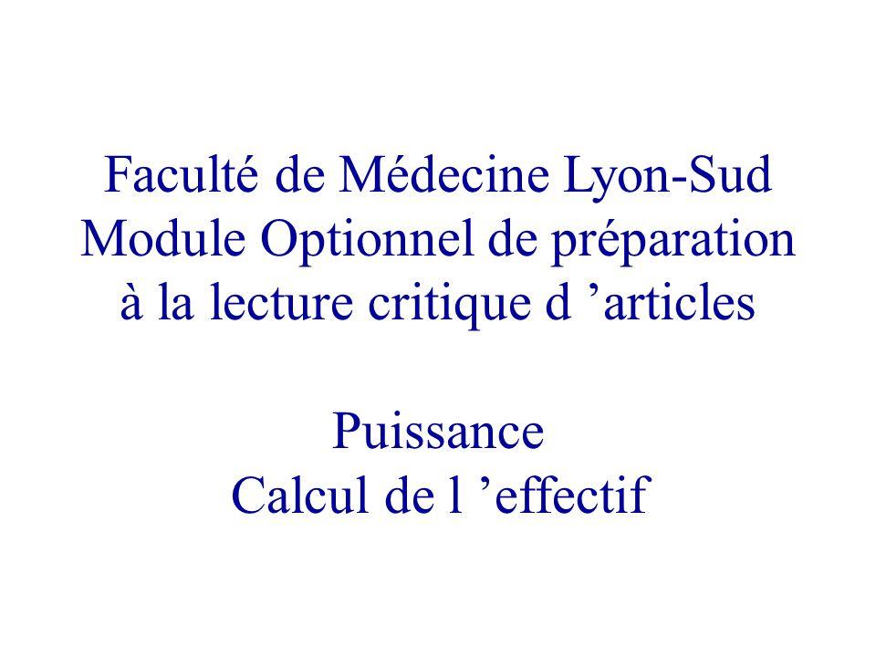 Faculté de Médecine Lyon-Sud Module Optionnel de préparation à la lecture critique d articles Puissance Calcul de l effectif