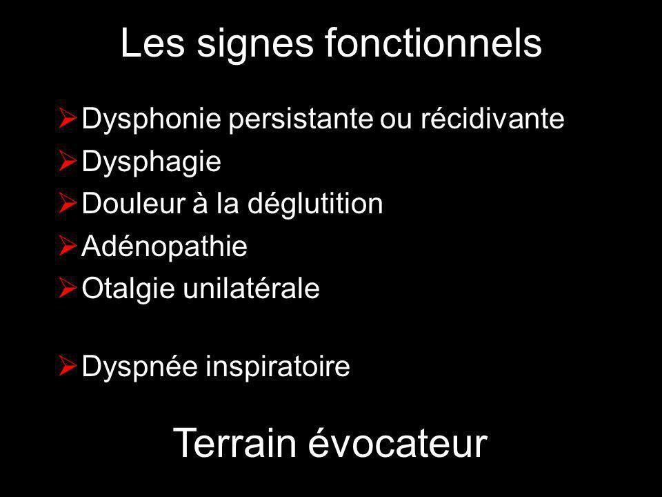 Les signes fonctionnels Dysphonie persistante ou récidivante Dysphagie Douleur à la déglutition Adénopathie Otalgie unilatérale Dyspnée inspiratoire T
