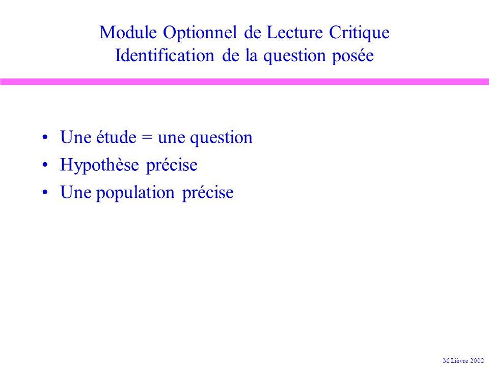 Module Optionnel de Lecture Critique Identification de la question posée Une étude = une question Hypothèse précise Une population précise M Lièvre 20
