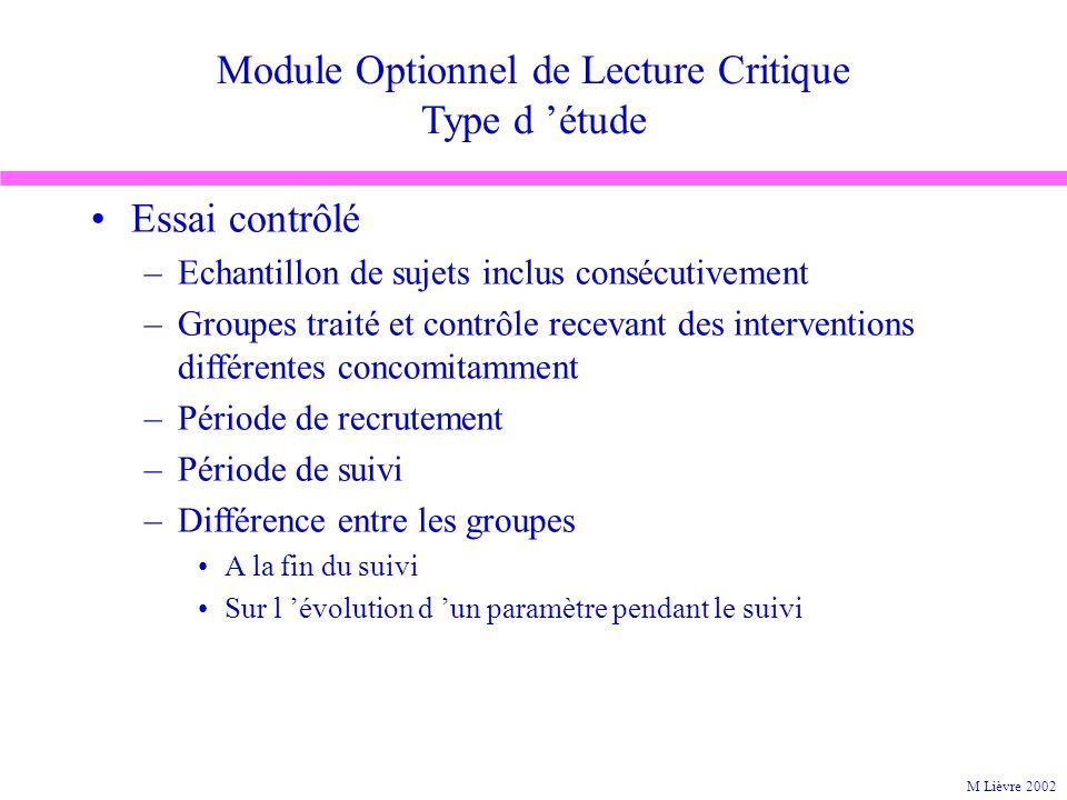 Module Optionnel de Lecture Critique Type d étude Essai contrôlé –Echantillon de sujets inclus consécutivement –Groupes traité et contrôle recevant de