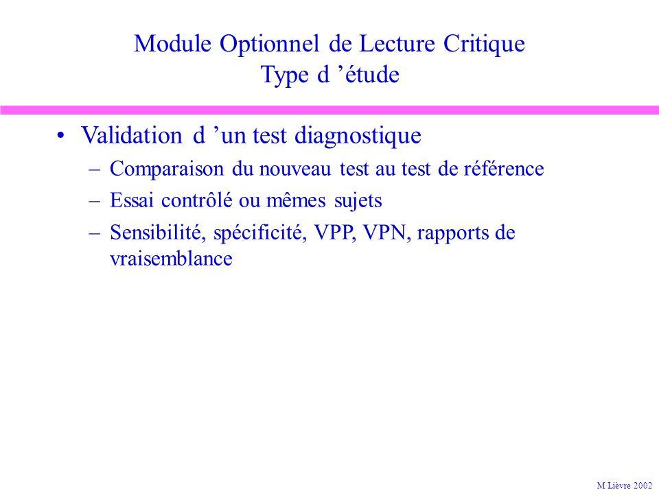 Module Optionnel de Lecture Critique Type d étude Validation d un test diagnostique –Comparaison du nouveau test au test de référence –Essai contrôlé