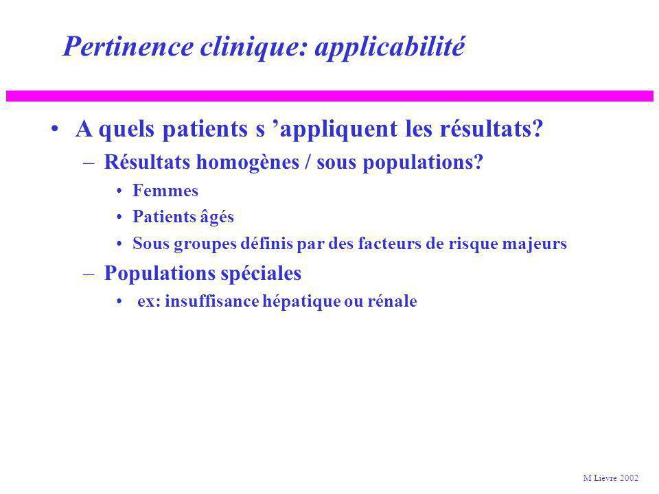 Pertinence clinique: applicabilité A quels patients s appliquent les résultats? –Population éligible représentative de la population cible? Critères d