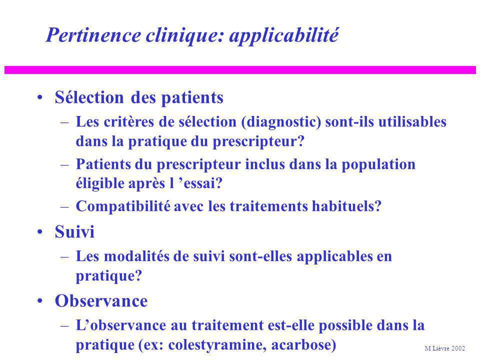 Pertinence clinique: applicabilité A quels patients s appliquent les résultats? –Résultats homogènes / sous populations? Femmes Patients âgés Sous gro