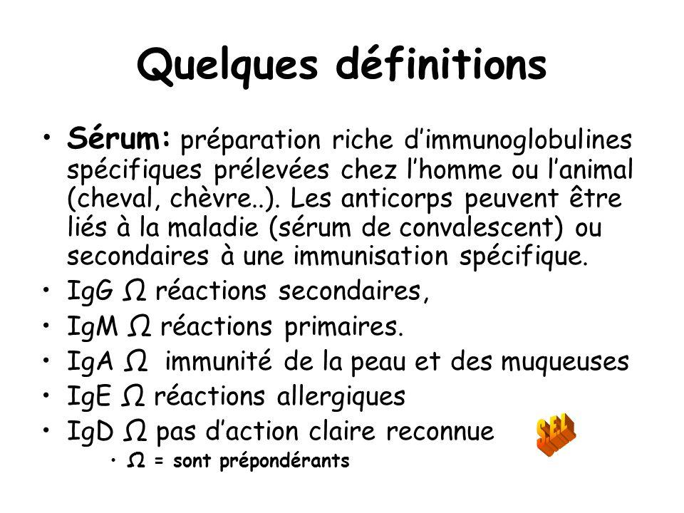 Quelques définitions Sérum: préparation riche dimmunoglobulines spécifiques prélevées chez lhomme ou lanimal (cheval, chèvre..). Les anticorps peuvent