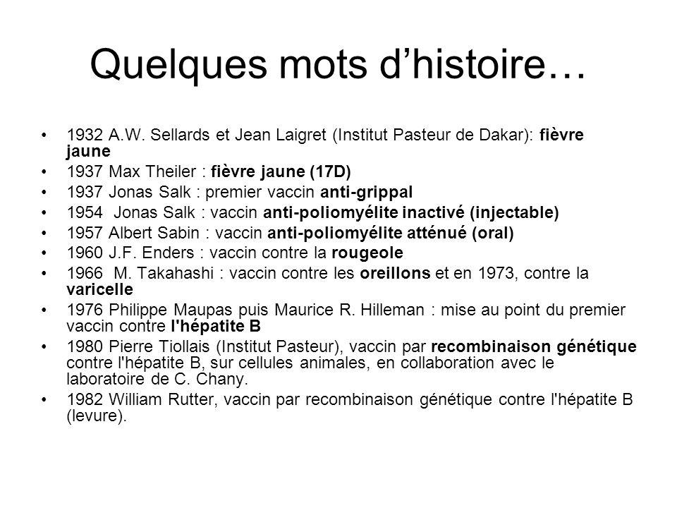 Quelques mots dhistoire… 1932 A.W. Sellards et Jean Laigret (Institut Pasteur de Dakar): fièvre jaune 1937 Max Theiler : fièvre jaune (17D) 1937 Jonas