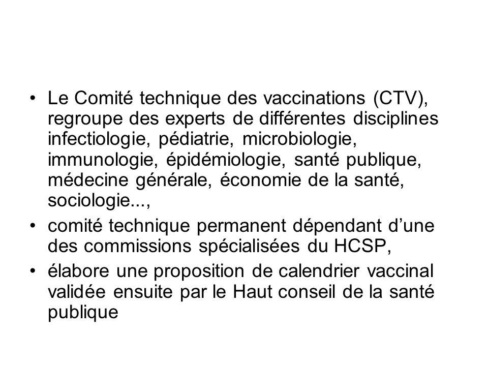 Le Comité technique des vaccinations (CTV), regroupe des experts de différentes disciplines infectiologie, pédiatrie, microbiologie, immunologie, épid