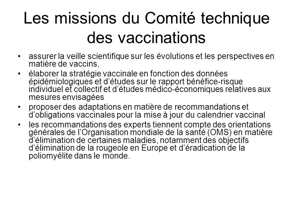 Les missions du Comité technique des vaccinations assurer la veille scientifique sur les évolutions et les perspectives en matière de vaccins, élabore