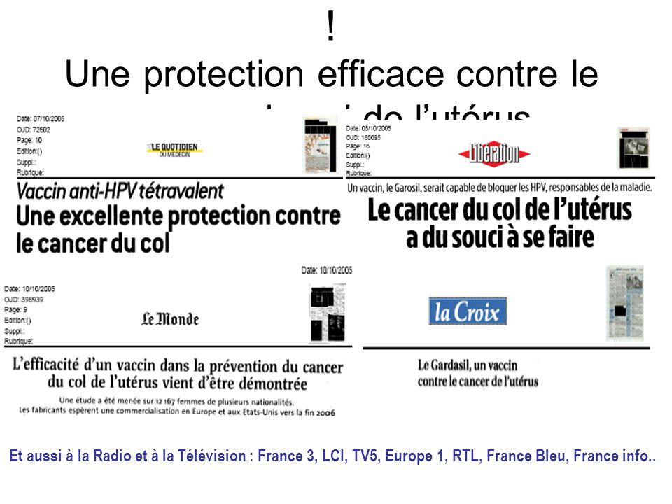On en parle : cest pour demain ! Une protection efficace contre le cancer du col de lutérus Et aussi à la Radio et à la Télévision : France 3, LCI, TV