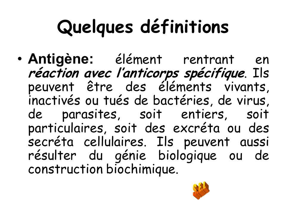 Quelques définitions Antigène: élément rentrant en réaction avec lanticorps spécifique. Ils peuvent être des éléments vivants, inactivés ou tués de ba