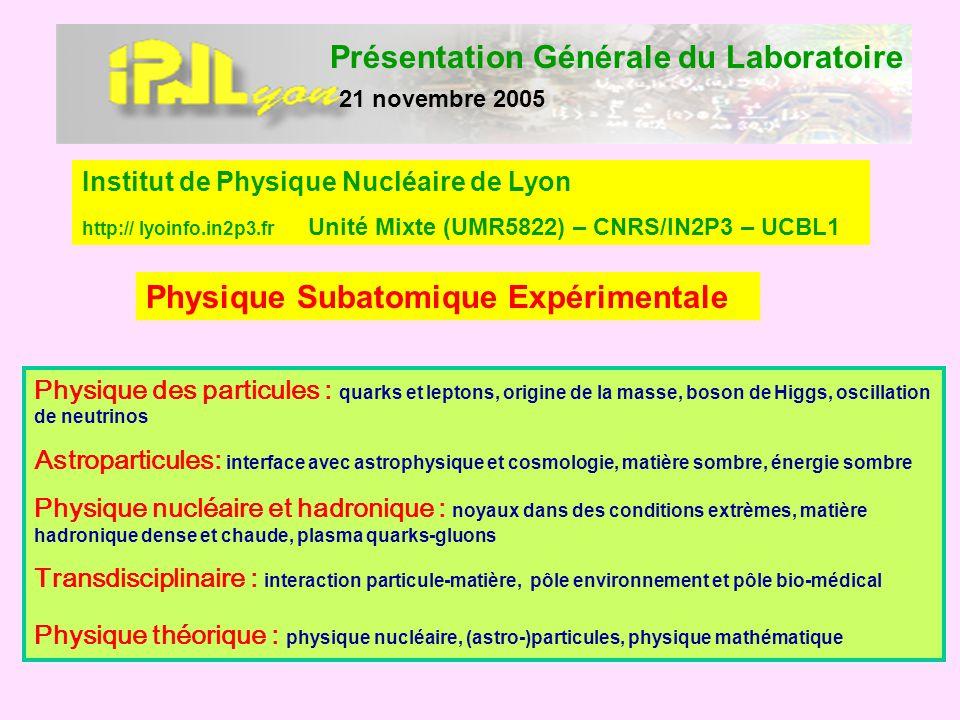 Présentation Générale du Laboratoire 21 novembre 2005 Physique Subatomique Expérimentale Institut de Physique Nucléaire de Lyon http:// lyoinfo.in2p3.