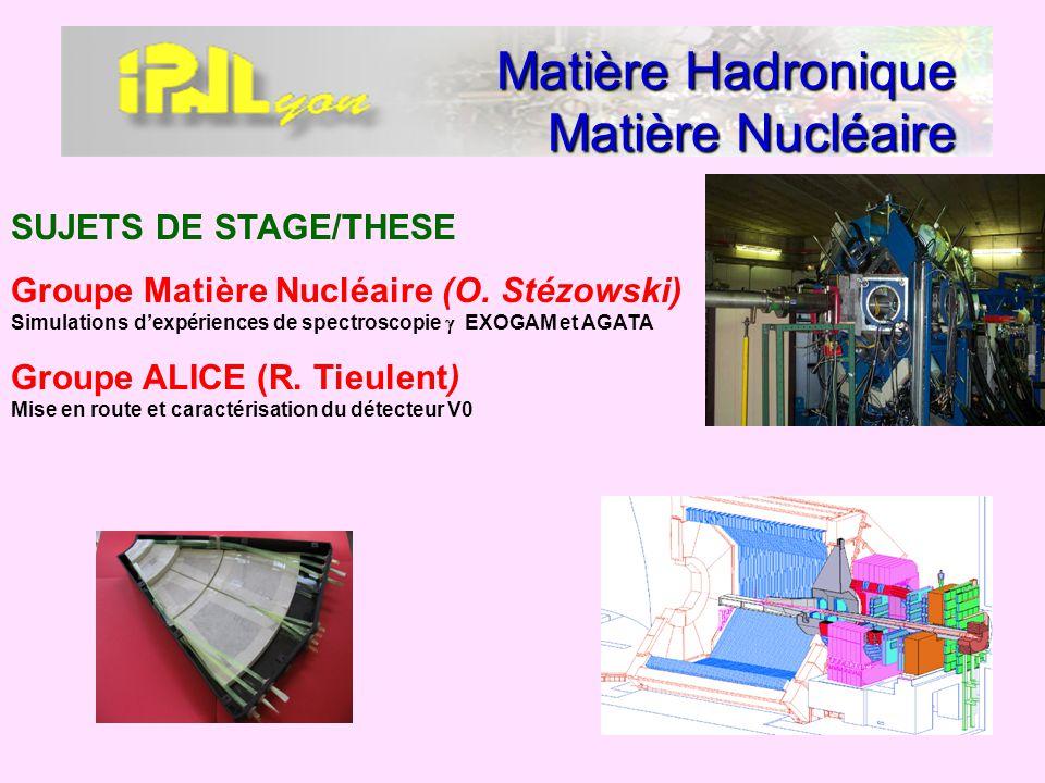 Matière Hadronique Matière Nucléaire SUJETS DE STAGE/THESE Groupe Matière Nucléaire (O. Stézowski) Simulations dexpériences de spectroscopie EXOGAM et