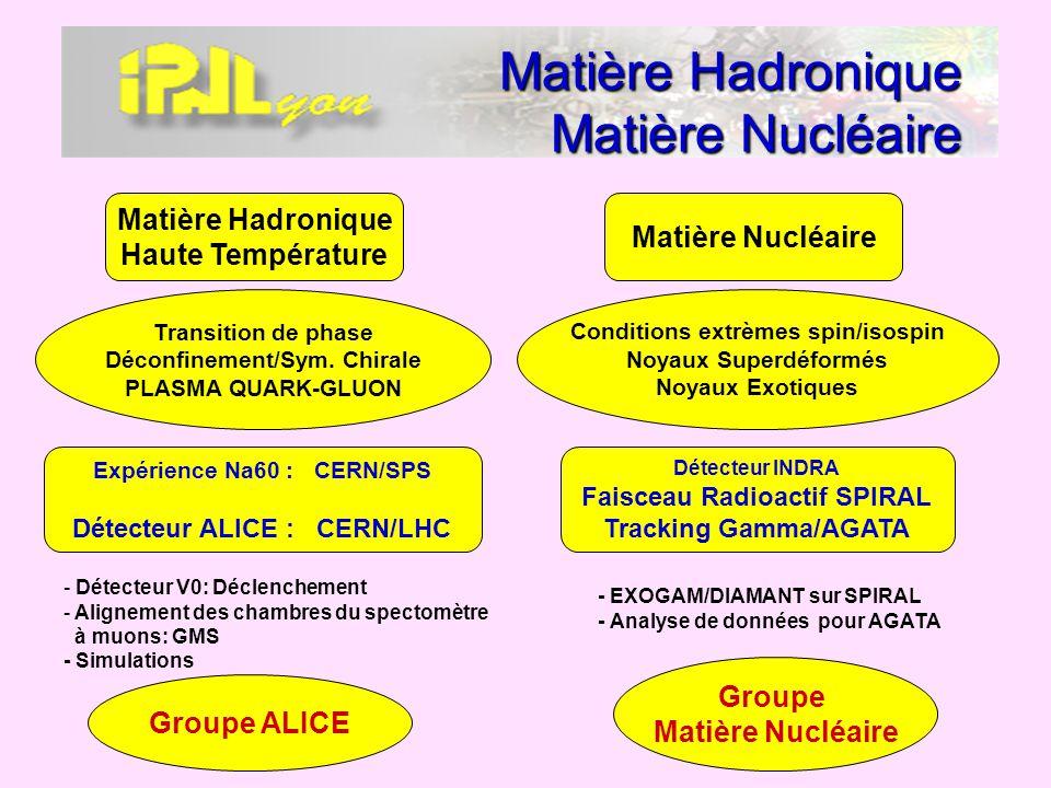 Matière Hadronique Matière Nucléaire Transition de phase Déconfinement/Sym. Chirale PLASMA QUARK-GLUON Expérience Na60 : CERN/SPS Détecteur ALICE : CE