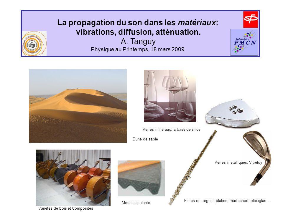 La propagation du son dans les matériaux: vibrations, diffusion, atténuation. A. Tanguy Physique au Printemps, 18 mars 2009. Verres minéraux, à base d