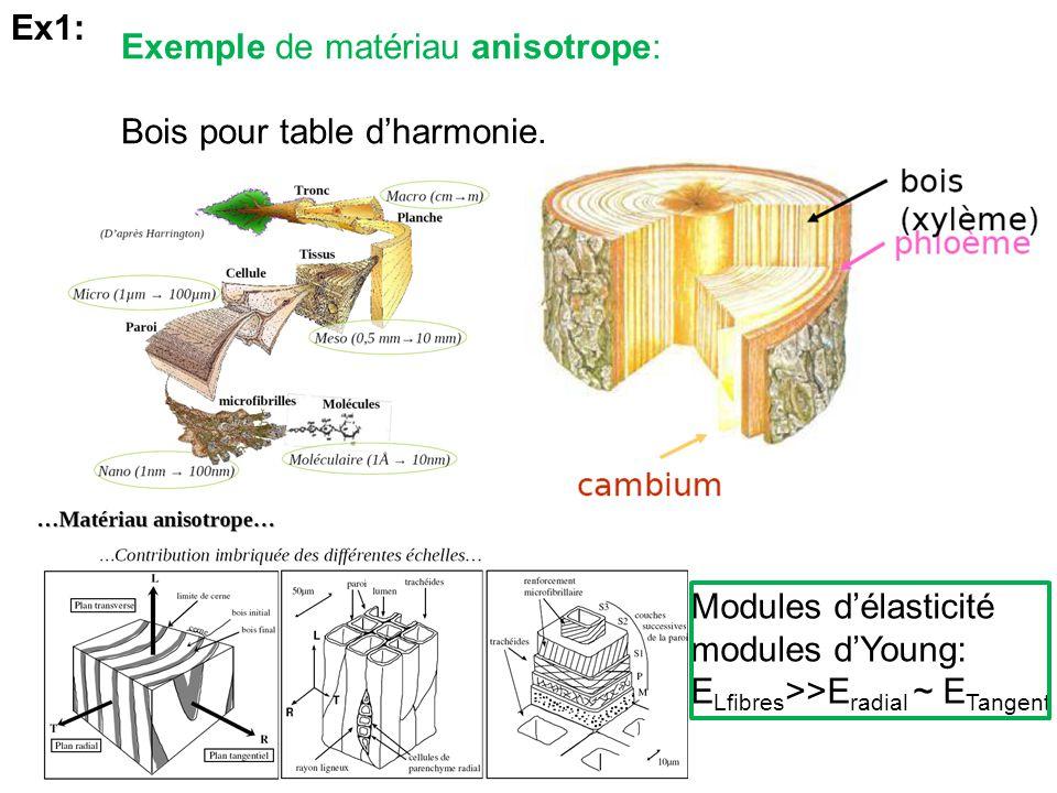 Exemple de matériau anisotrope: Bois pour table dharmonie. Ex1: Modules délasticité modules dYoung: E Lfibres >>E radial ~ E Tangent