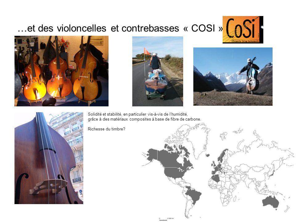 …et des violoncelles et contrebasses « COSI » Solidité et stabilité, en particulier vis-à-vis de lhumidité, grâce à des matériaux composites à base de fibre de carbone.