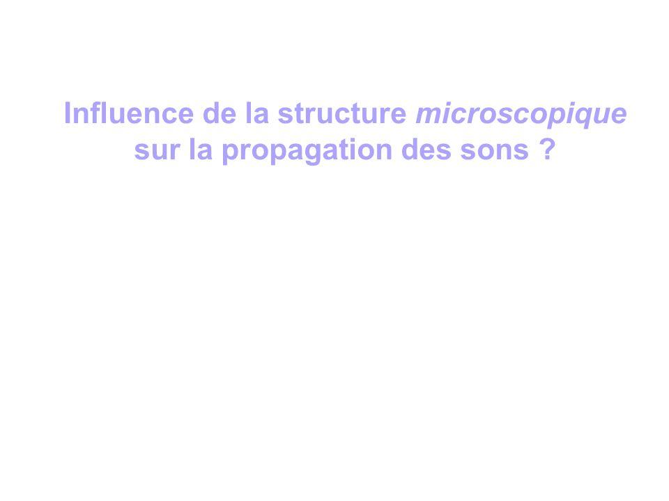 Influence de la structure microscopique sur la propagation des sons ?
