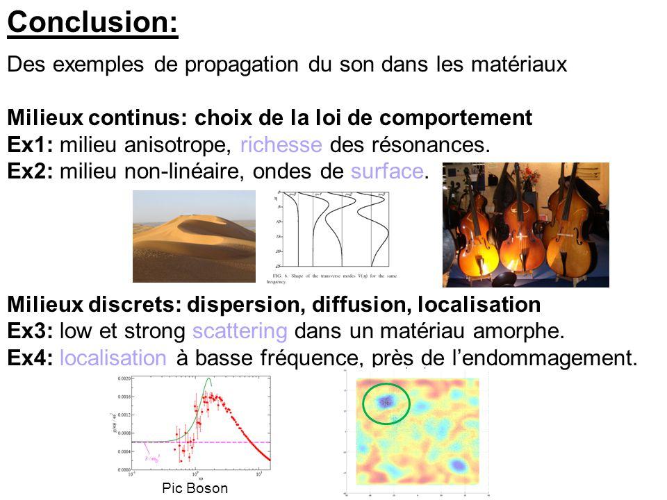 Conclusion: Des exemples de propagation du son dans les matériaux Milieux continus: choix de la loi de comportement Ex1: milieu anisotrope, richesse des résonances.