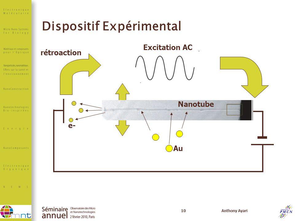 10Anthony Ayari Dispositif Expérimental rétroaction Excitation AC Au e- Nanotube