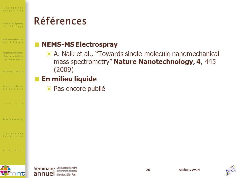 26Anthony Ayari Références NEMS-MS Electrospray A. Naik et al., Towards single-molecule nanomechanical mass spectrometry Nature Nanotechnology, 4, 445