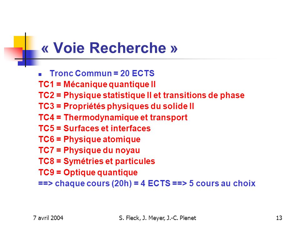 7 avril 2004S. Fleck, J. Meyer, J.-C. Plenet13 Tronc Commun = 20 ECTS TC1 = Mécanique quantique II TC2 = Physique statistique II et transitions de pha